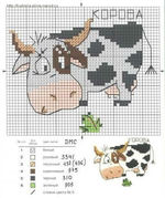 вышивка крестом корова пятнистая, схема