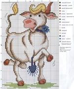вышивка крестом корова, романтика, схема