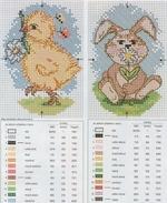 вышивка крестиком цыпленок заяц схема