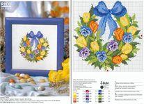 вышивка крестом венок с цветами схема