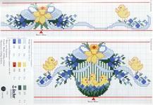 вышивка яички желтые цыплята цветы, схема
