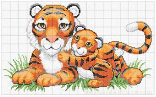 вышивка тигрица и тигренок, схема