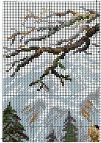 вышивка тигр в горах, схема