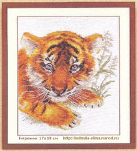 вышивка тигренок, схема
