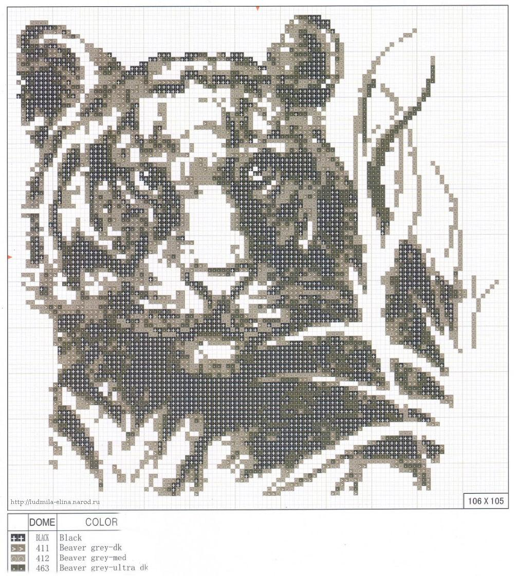 Тигр схема вышивка черно-белая