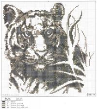 ч/б вышивка тигр, схема