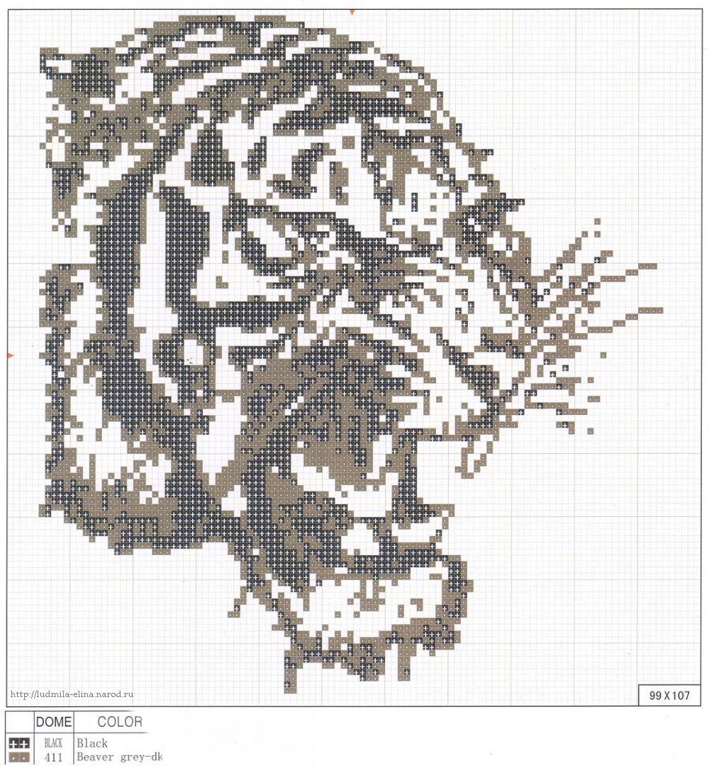 Черно-белая вышивка тигры схемы