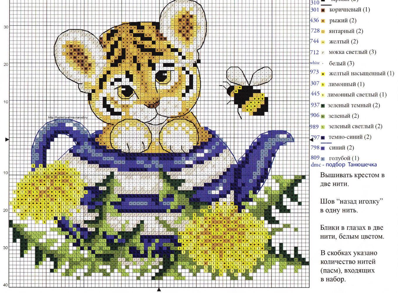 схема вышивания крестиком тигрица и тигрёнком