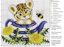 вышивка тигренок в чайнике одуванчики и пчелка, схема