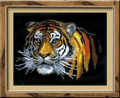 вышивка тигр, схема