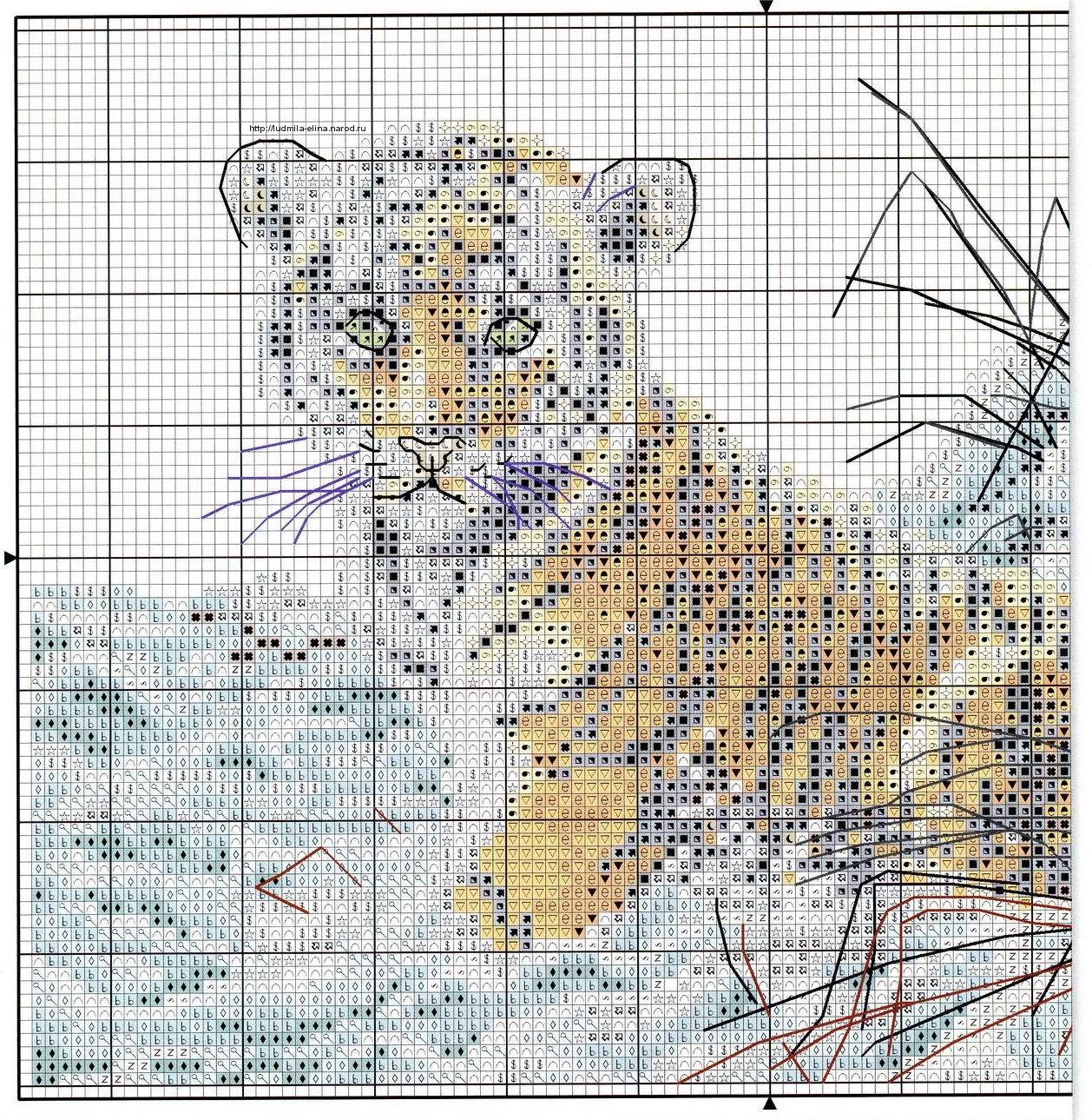 Вышивка крестом схема тигрята